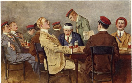 »Cantus« (um 1900), Gemälde von Georg Mühlberg (1863-1925): Verbindungsstudenten beim Singen in einer Kneipe