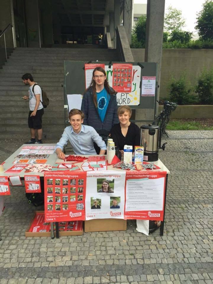 LAF/ Jusos-Hochschulgruppe: (v.l.n.r.) Jonathan Narjes, Leon Struve und Amelie Albrecht